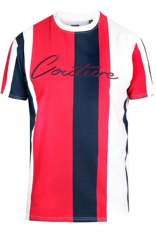 Plus Size T-Shirts D555 Couture Red & Navy Stripe T-Shirt