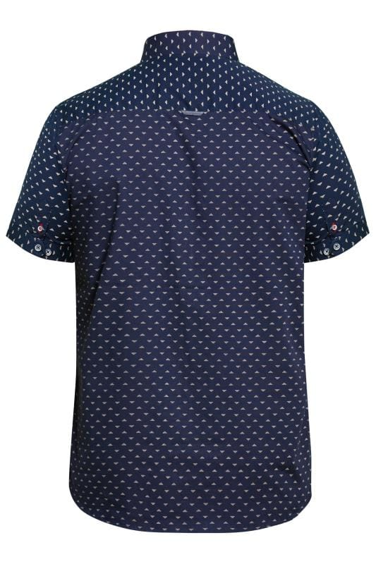 D555 Navy Printed Short Sleeve Shirt