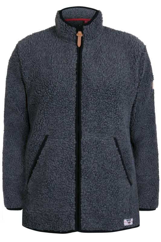 Plus Size Fleece D555 Charcoal Grey Zip-Through Fleece
