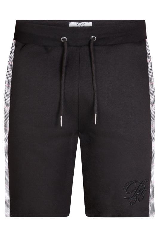 D555 Black Check Jogger Shorts