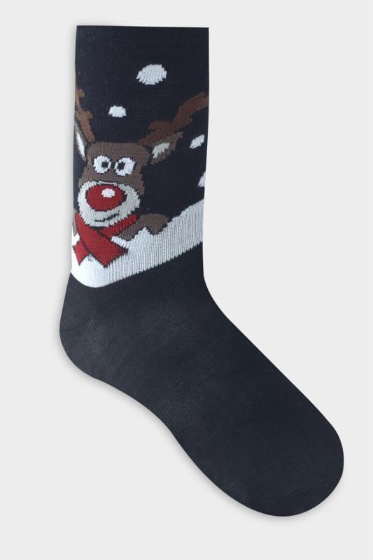 D555 Black Christmas Reindeer Print Ankle Socks