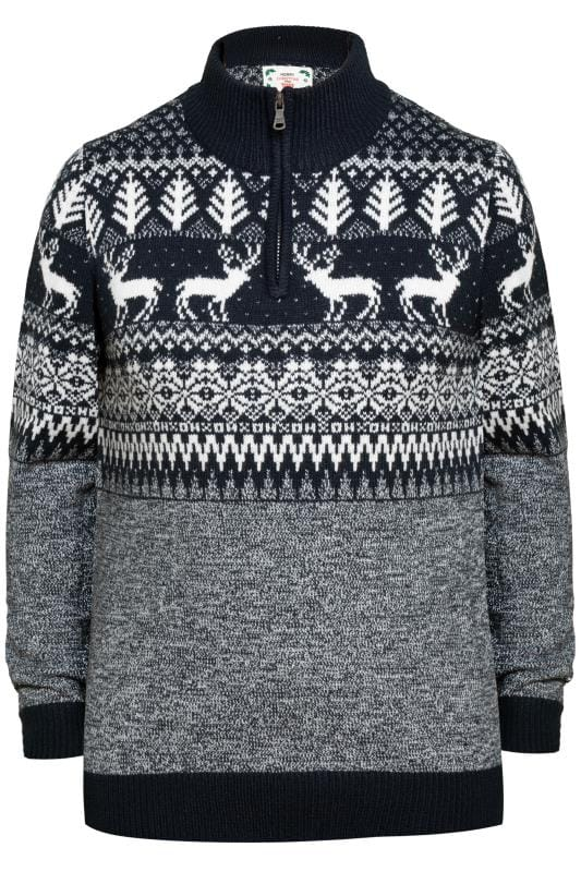 Jumpers D555 Navy Christmas Reindeer Zip Jumper 201900