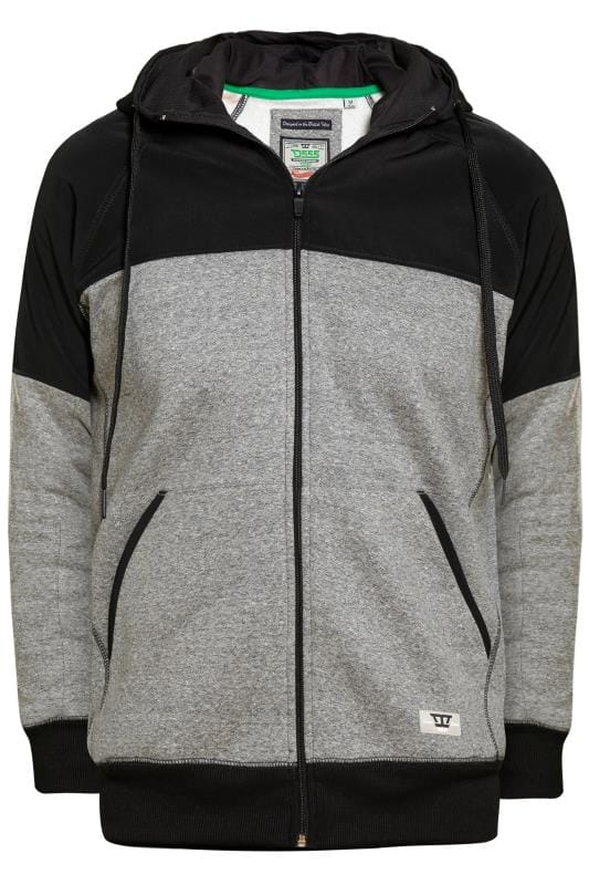 D555 Black Cut & Sew Zip Through Hoodie