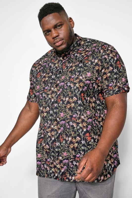 Plus Size Casual Shirts D555 Black Floral Print Shirt