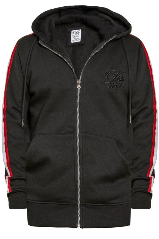 D555 Couture Black Full Zip Hoodie With Taped Sleeves