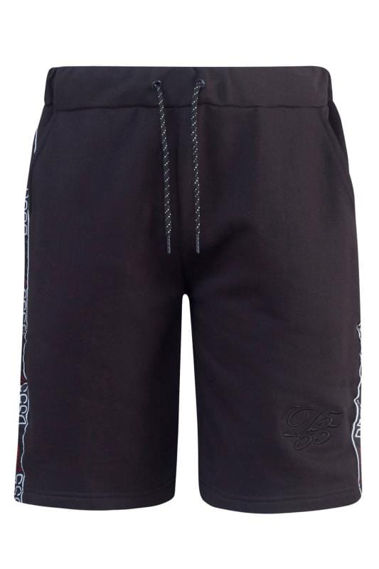 Большие размеры | Jogger Shorts D555 Black Jersey Logo Tape Jogger Shorts