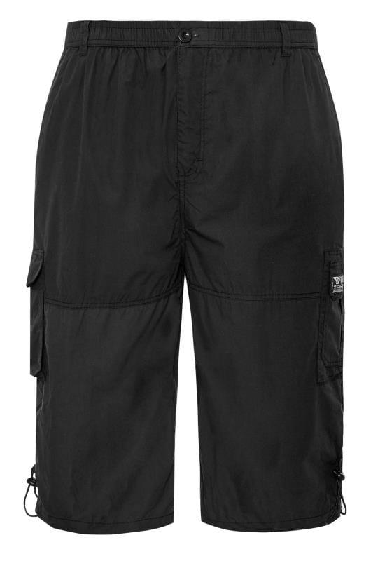 Cargo Shorts D555 Black Leg Pocket Cargo Shorts