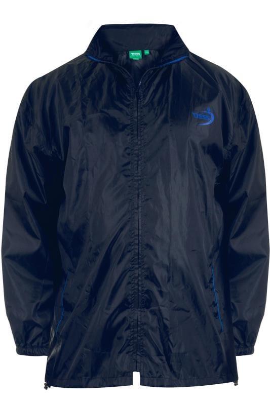 Jackets Tallas Grandes D555 Black & Navy Foldaway Waterproof Jacket