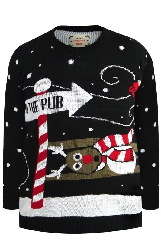 Jumpers D555 Black 'Santa's To The Pub' Jumper 201899