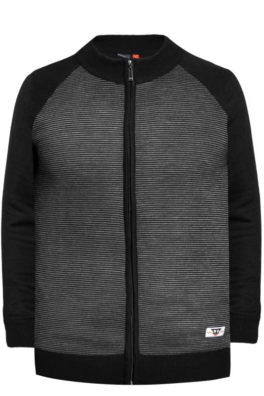 Sweatshirts D555 Black Stripe Full Zip Sweater 201898