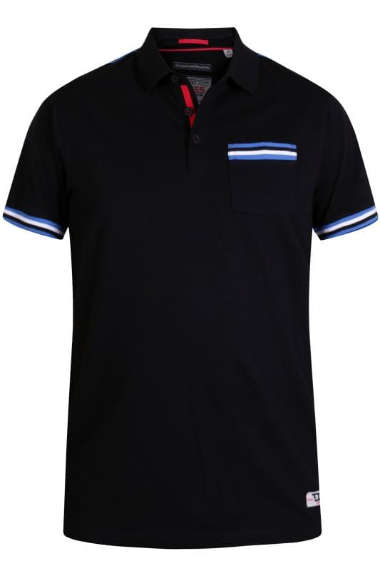 Polo Shirts D555 Black Taped Polo Shirt 201861