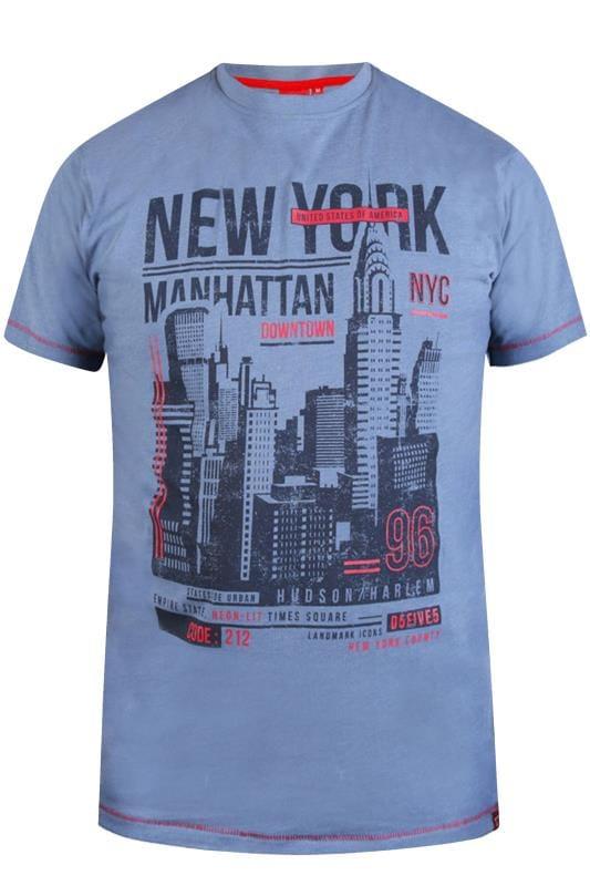 T-Shirts D555 Blue Marl New York Skyline Print T-Shirt 201836