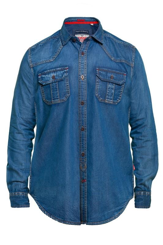 Casual Shirts D555 Blue Vintage Denim Shirt 201740