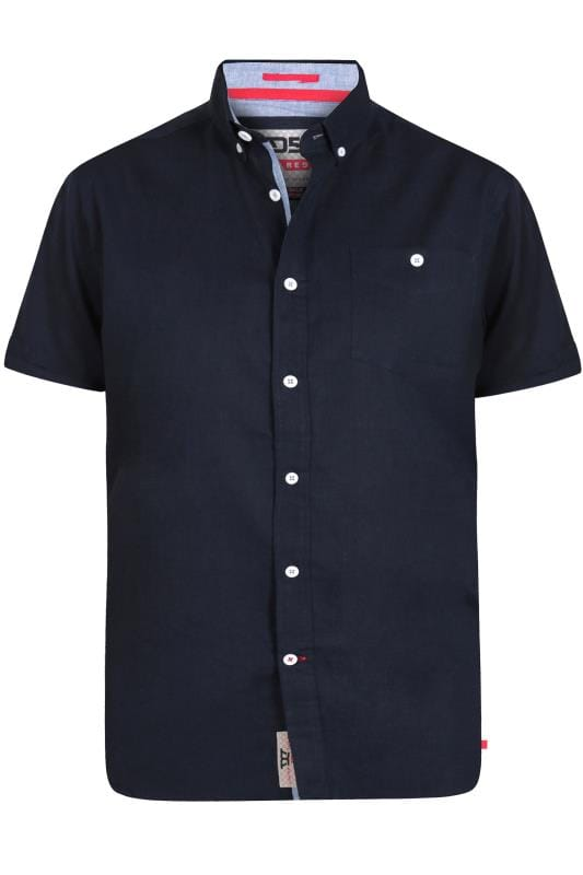Plus Size Casual Shirts D555 Navy Linen Shirt