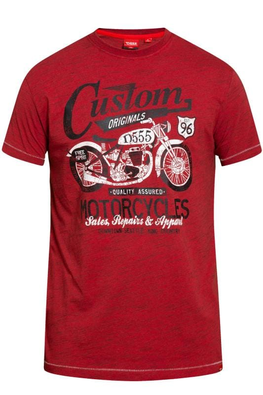 T-Shirts D555 Burgundy Motor Bike Graphic Print T-Shirt 201840