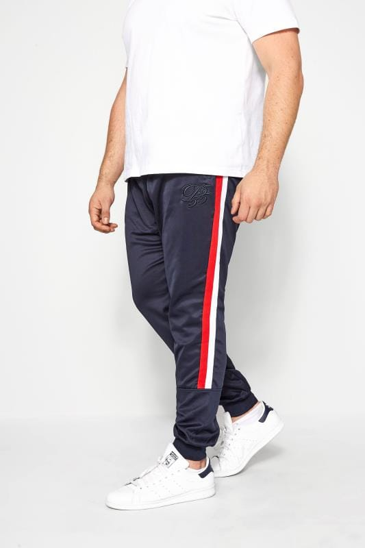 Plus Size Joggers D555 COUTURE Navy Taped Joggers