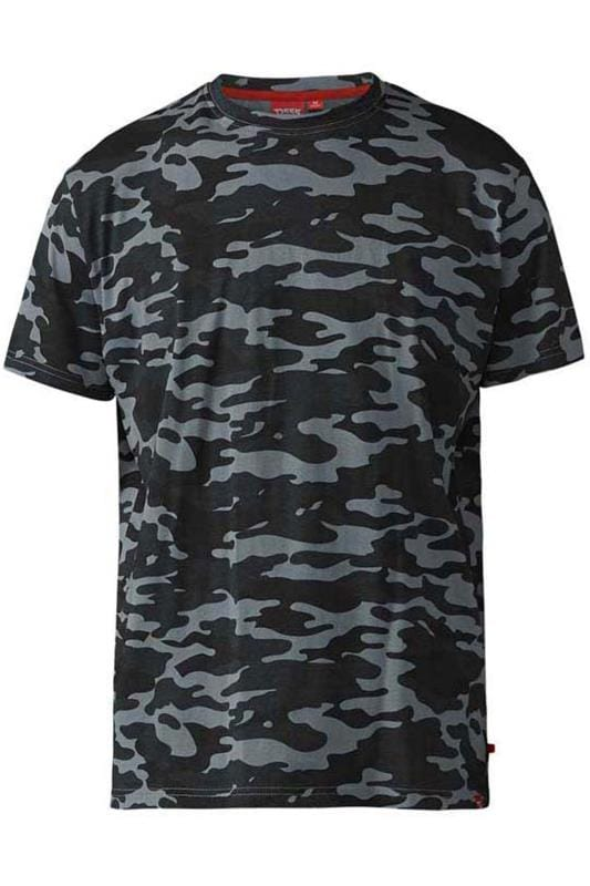 T-Shirts Grande Taille D555 Grey Camouflage Print T-Shirt