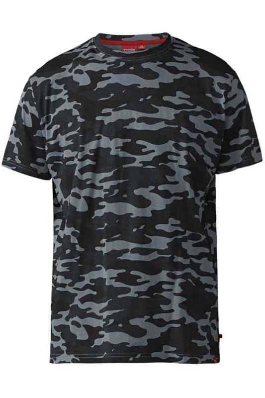 Plus-Größen T-Shirts D555 Grey Camouflage Print T-Shirt