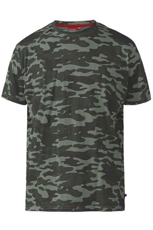 Men's T-Shirts D555 Green Camo Print T-Shirt