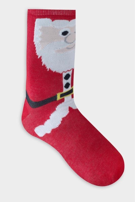 D555 Red Christmas Santa Print Ankle Socks