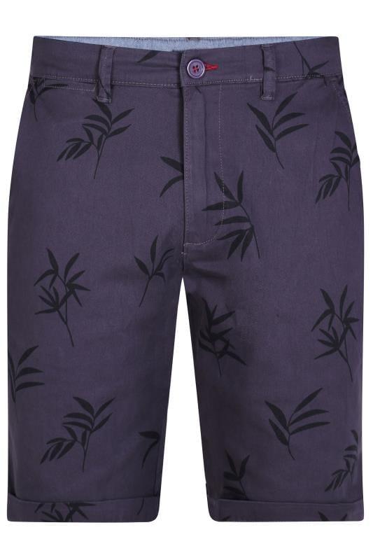Chino Shorts D555 Navy Leaf Print Chino Shorts 202455