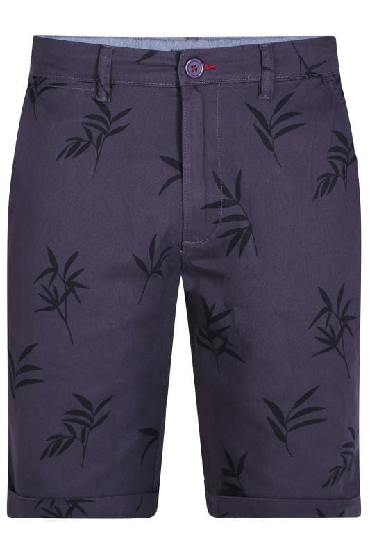 Plus Size Chino Shorts D555 Navy Leaf Print Chino Shorts
