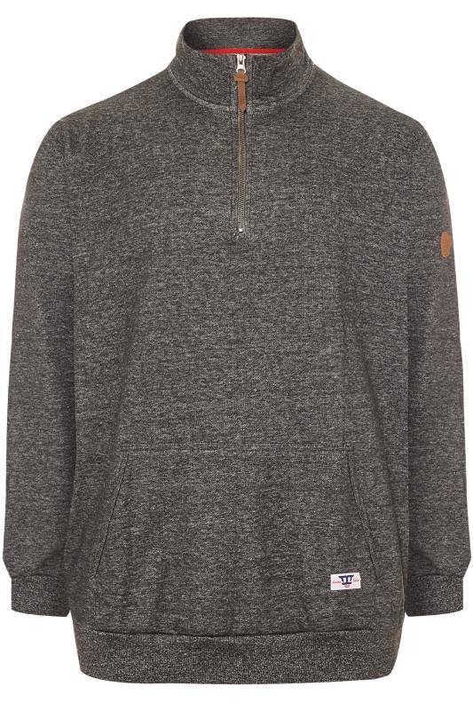 Plus Size Sweatshirts D555 Charcoal Grey Funnel Neck Sweater