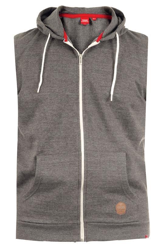 D555 Charcoal Grey Sleeveless Hoodie