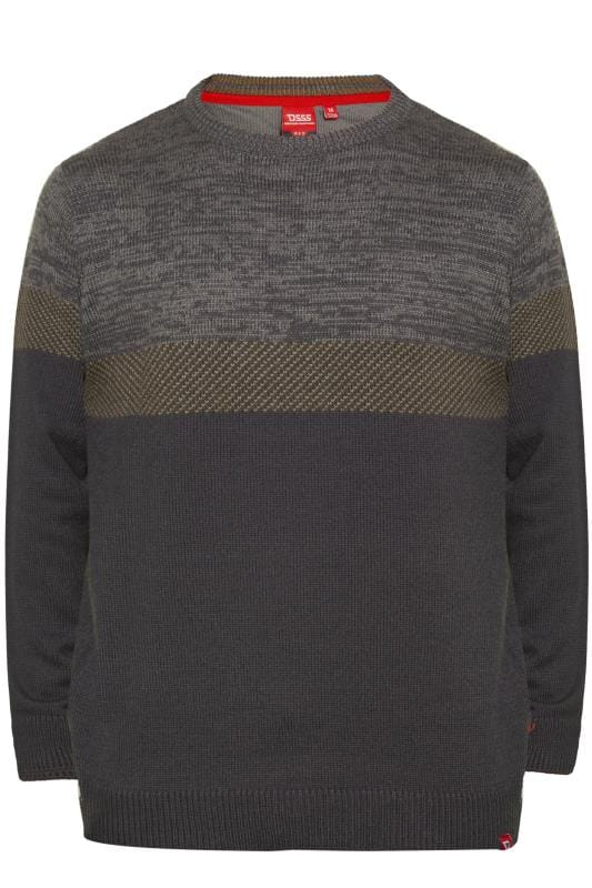 Jumpers D555 Charcoal Grey Panel Knitted Jumper 201884