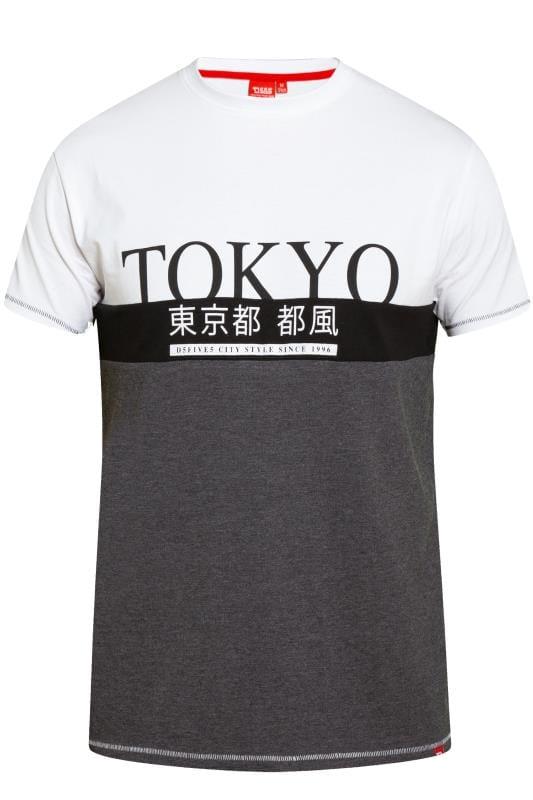 T-Shirts D555 Charcoal Grey & White Tokyo Slogan T-Shirt 201841