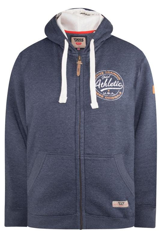 Men's Hoodies D555 Blue Printed Zip Through Hoodie