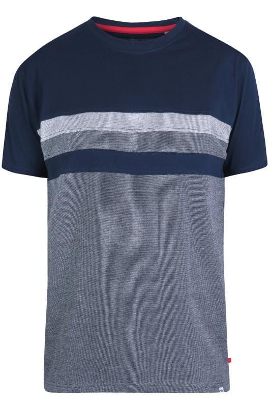 D555 T-Shirt im Color-Block Design - Navy