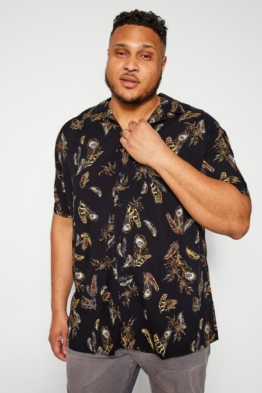 Plus Size Smart Shirts D555 Couture Black Feather Print Shirt