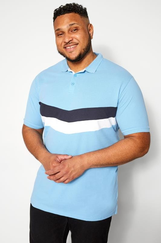 Plus Size Polo Shirts D555 Couture Light Blue Chevron Colour Block Polo Shirt