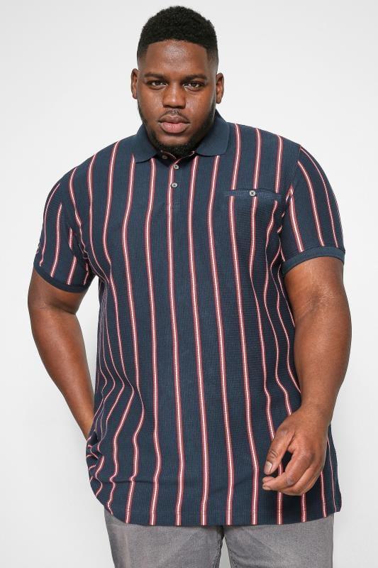 Polo Shirts D555 Couture Navy Stripe Polo Shirt 202553