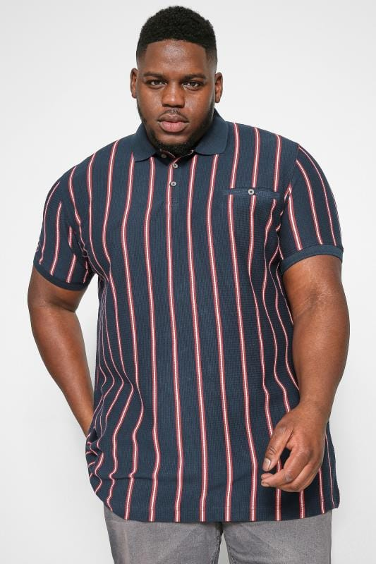 Plus Size Polo Shirts D555 Couture Navy Stripe Polo Shirt