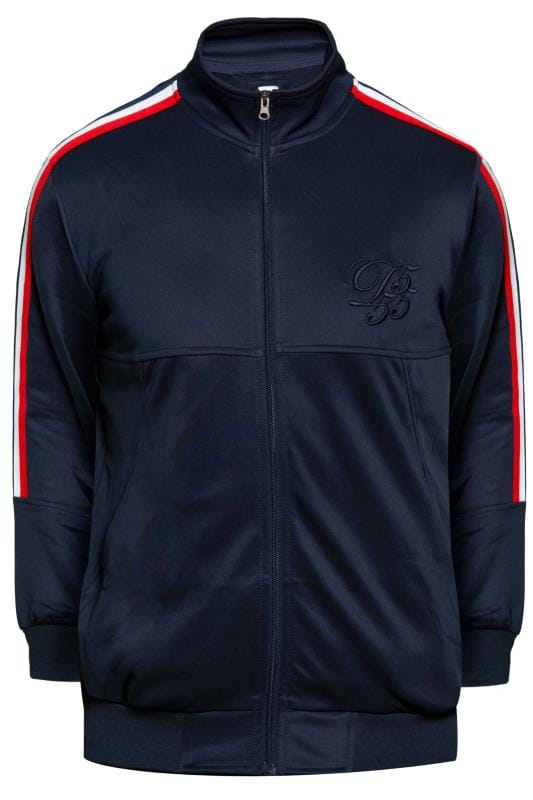 Plus-Größen Jackets D555 Couture Navy Zip Through Jacket  With Taping Detail