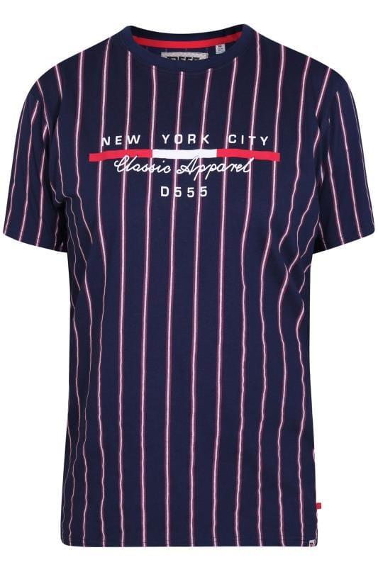 Plus Size T-Shirts D555 Navy Stripe NYC T-Shirt