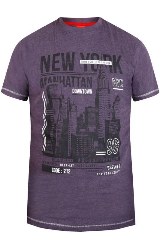 D555 Purple Marl New York Skyline Print T-Shirt