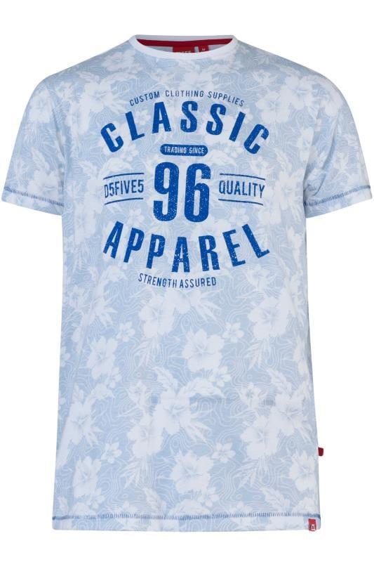 T-Shirts D555 Blue Floral Graphic Print T-Shirt 202504
