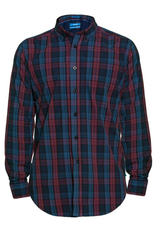 Plus Size Casual Shirts D555 Navy and Red Check Shirt