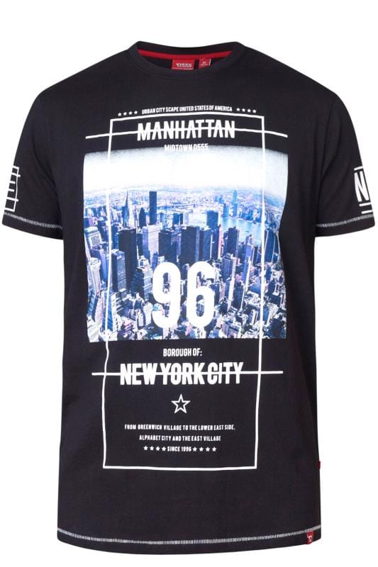 Plus Size T-Shirts D555 Black NYC Graphic Print T-Shirt