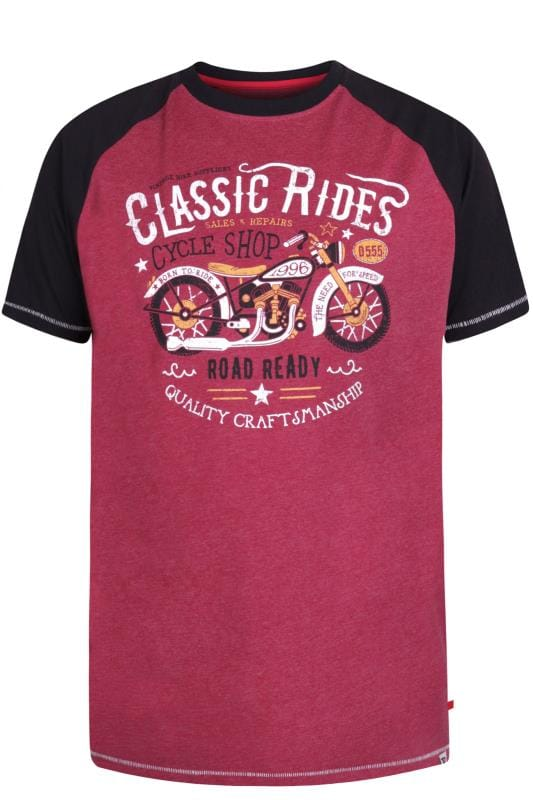 Plus Size T-Shirts D555 Burgundy Motorbike Graphic Print T-Shirt