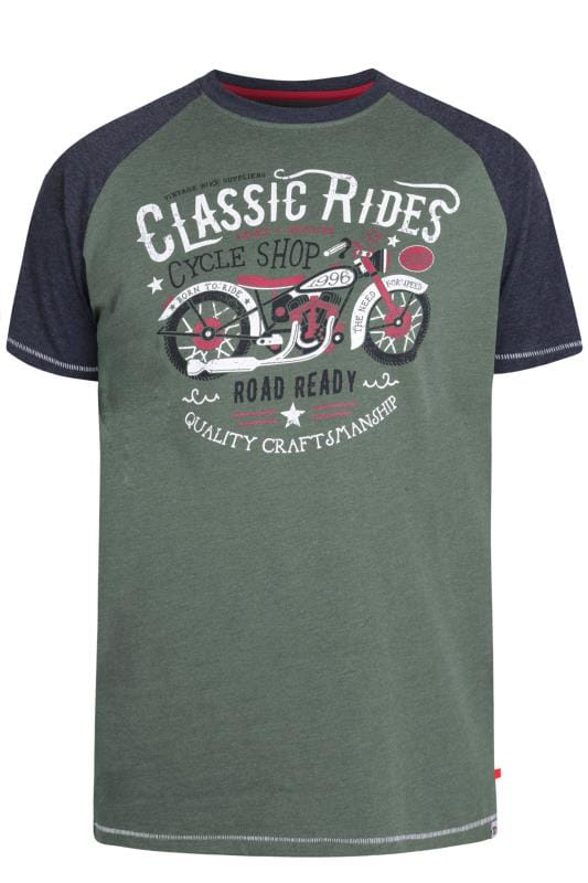 Plus Size T-Shirts D555 Khaki Green Motorbike Graphic Print T-Shirt