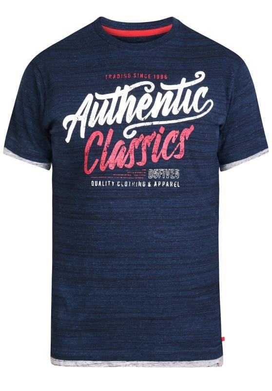Plus Size T-Shirts D555 Navy Graphic Logo Print T-Shirt