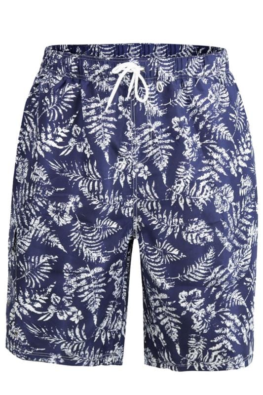 D555 Navy Leaf Print Swim Shorts
