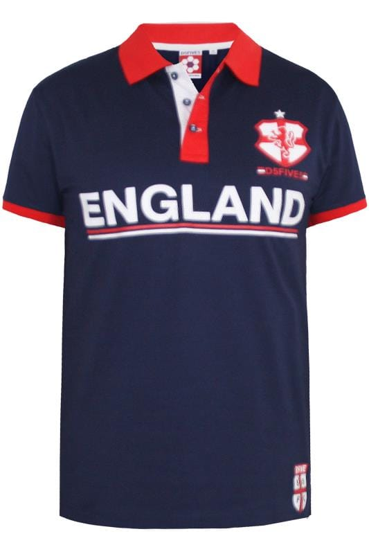D555 Navy 'England' Football Polo Shirt