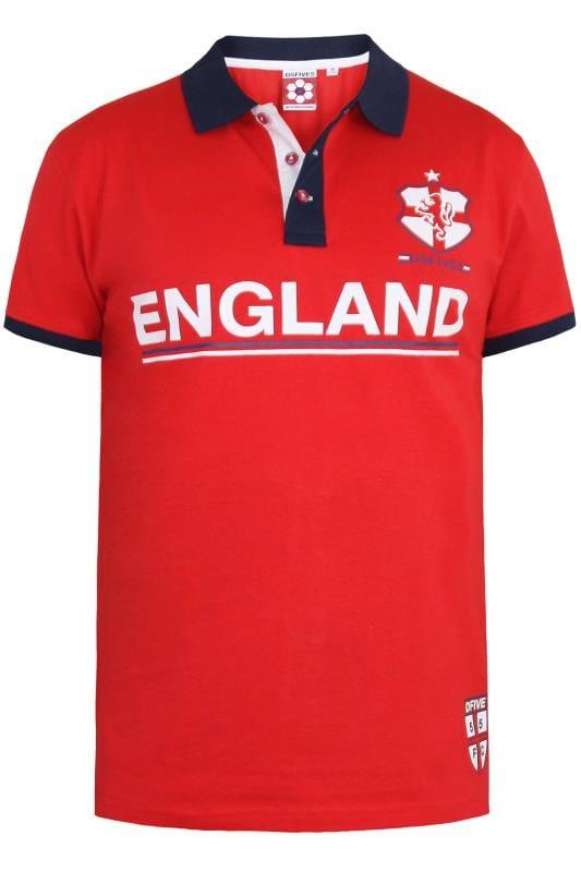 D555 Red 'England' Football Polo Shirt