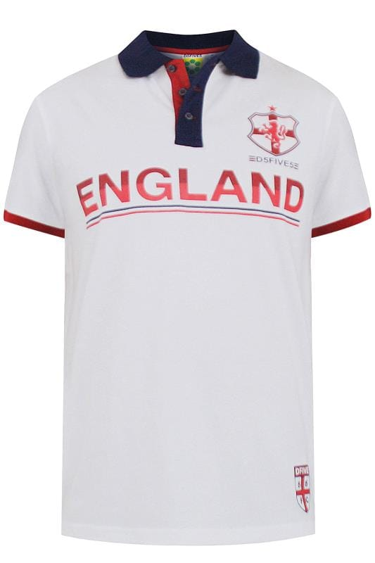 Plus Size Polo Shirts D555 White 'England' Polo Shirt