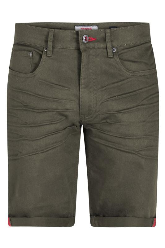 D555 Khaki Green Denim Stretch Shorts